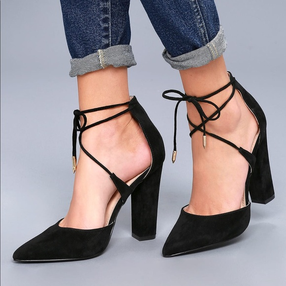 2d419cafcbd Lulu s Shoes - LUNA BLACK SUEDE LACE-UP HEELS